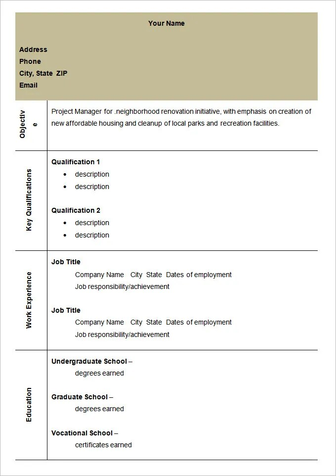 Project Manager Resume Best Sample Resume 40 Blank Resume Templates – Free Samples Examples