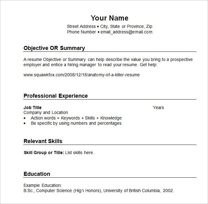 Chronological Resume Template - 23+ Free Samples, Examples, Format - Format Cv Resume