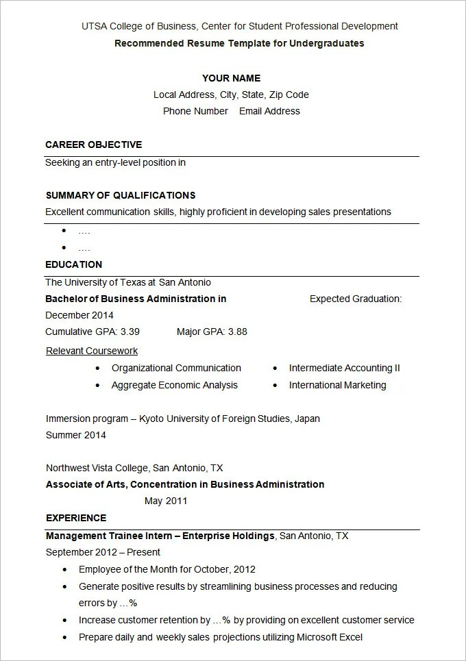 36+ Student Resume Templates - PDF, DOC Free  Premium Templates - Sample Resume Templates For Students