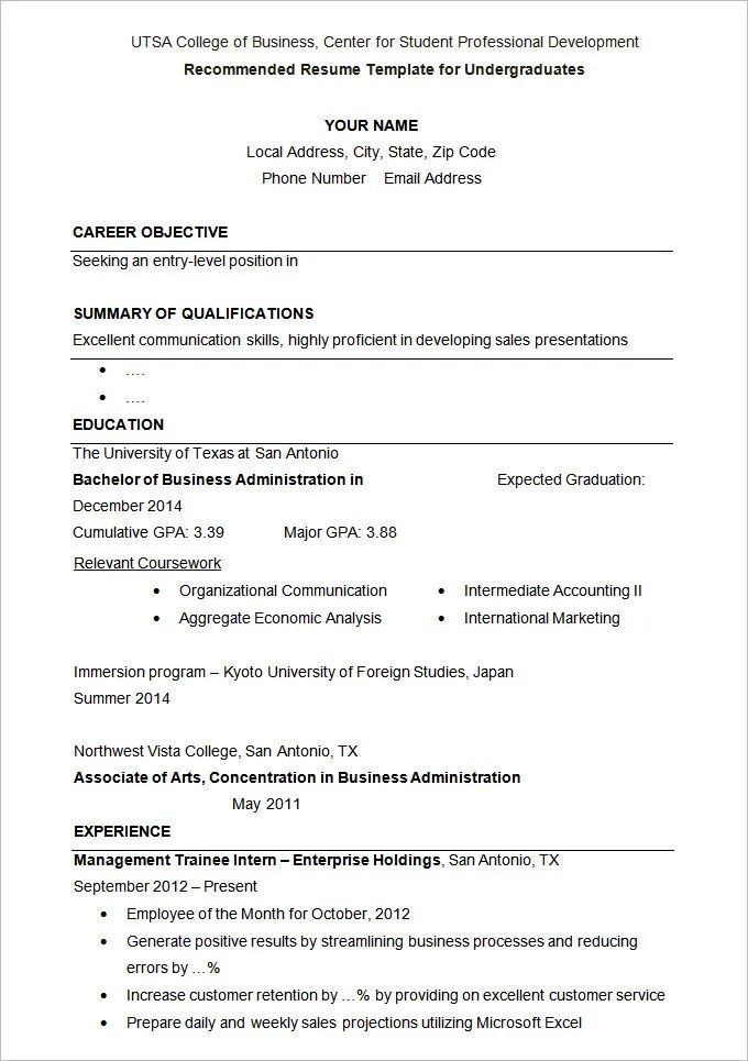 resume template for graduate application