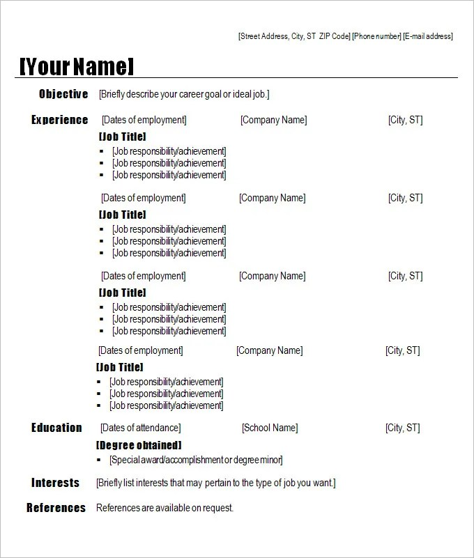 Reverse Chronological Resume Template Download | Free Cv Templates