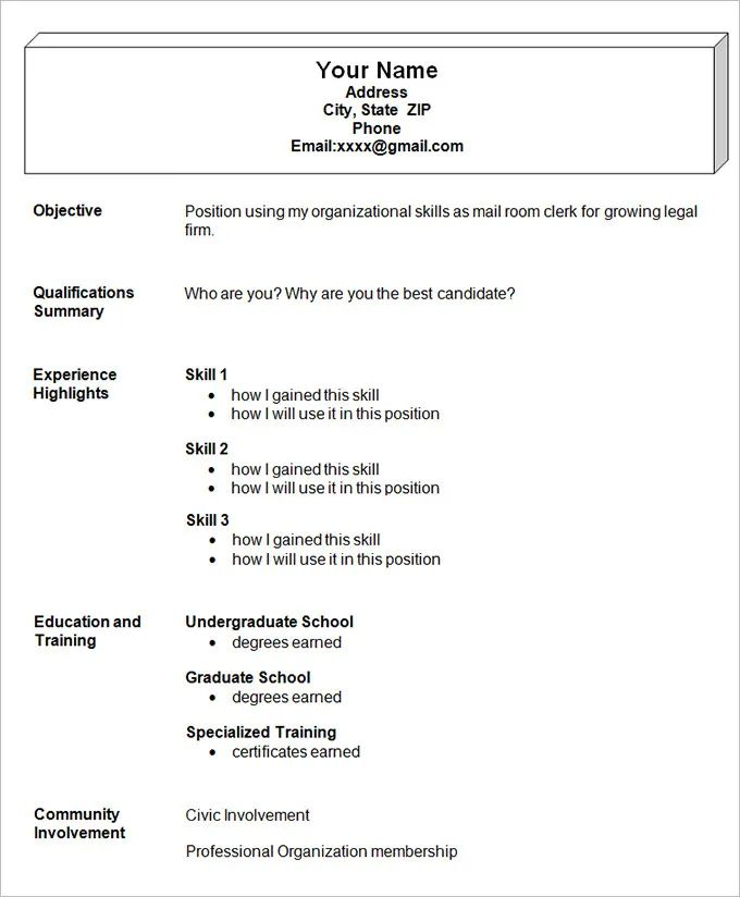 simple resume format template