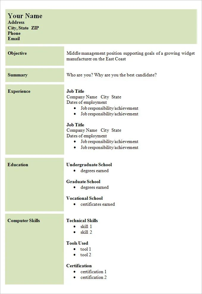 sample of simple cv format