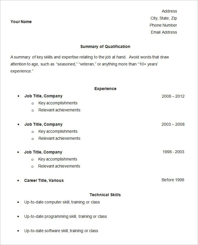 Simple Resume Template - 46+ Free Samples, Examples, Format Download - basic resume samples