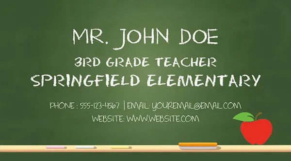 Business Cards for Teachers \u2013 48+ Free PSD Format Download Free