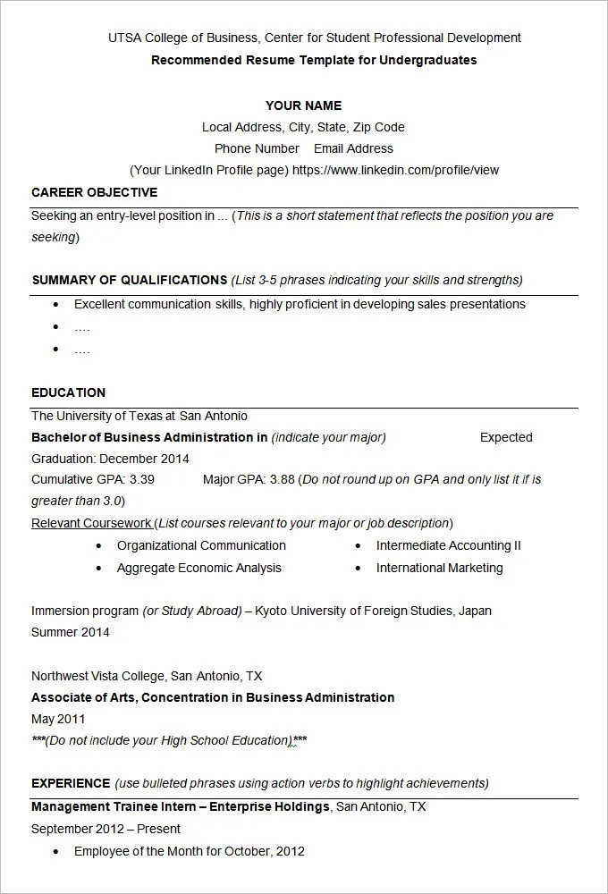 Resume Example \u2013 19+ Free Samples, Examples, Format Download! Free - how to do a college resume