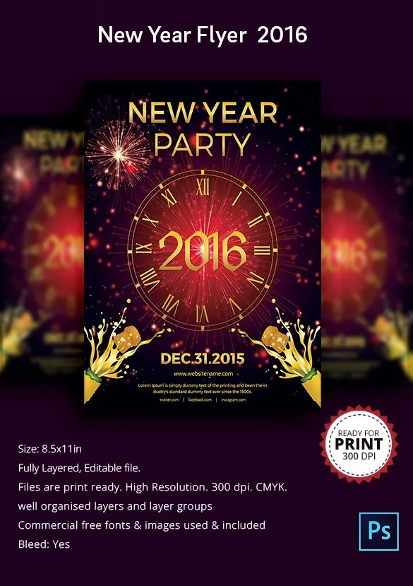 25+ New Year Flyer Templates 2016 u2013 Free PSD, EPS, Indesign, Word - new year poster template