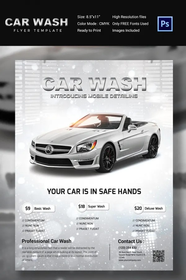 Car Wash Flyer Template - vheo - car ad template