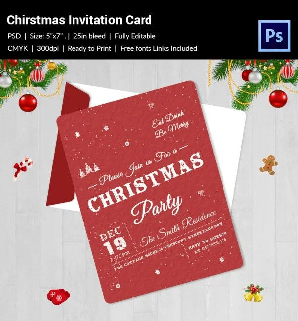 Christmas Invitation Template - 27+ Free PSD, EPS, Vector, AI, Word - free templates christmas invitations