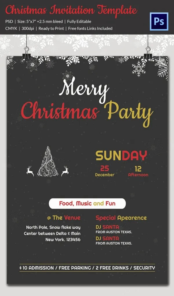 Christmas Invitation Template - 27+ Free PSD, EPS, Vector, AI, Word - holiday party invitations free