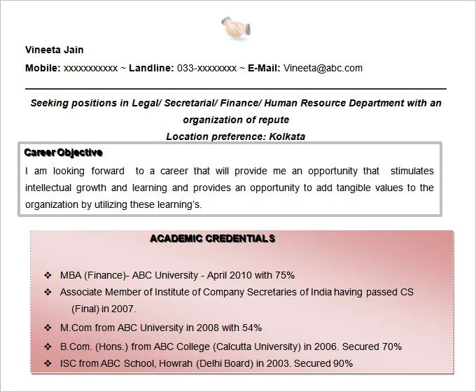 Resume Objectives - 61+ Free Sample, Example, Format Download Free - career objective example for resume