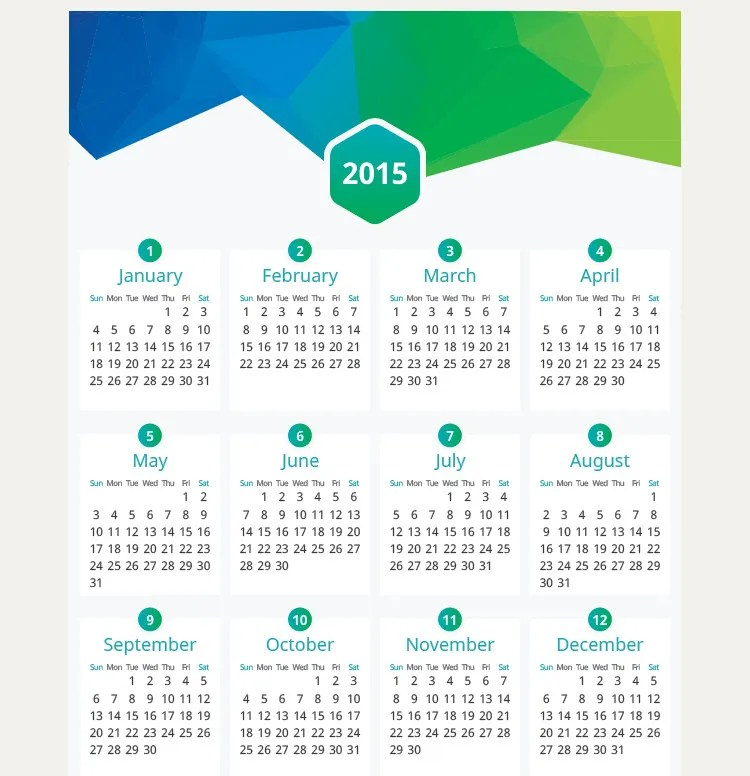 60+ Best 2015 Yearly Calendar Templates to Download amp; Print