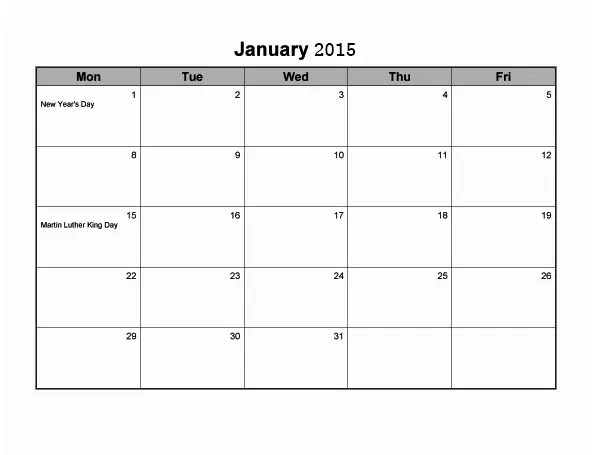 35+ Best 2015 Monthly Calendar Templates for Download Free