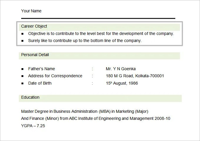 Resume Objectives - 61+ Free Sample, Example, Format Download Free - Marketing Resume Objectives