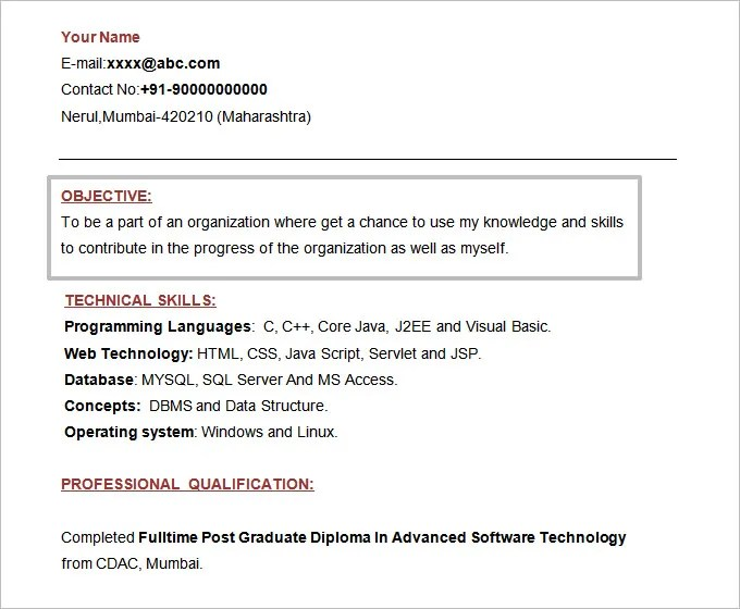 Resume Objectives u2013 46+ Free Sample, Example, Format Download - sample resume format for freshers