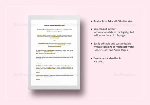 34+ Best Marketing Proposal Templates  Samples Free  Premium - marketing proposal letter