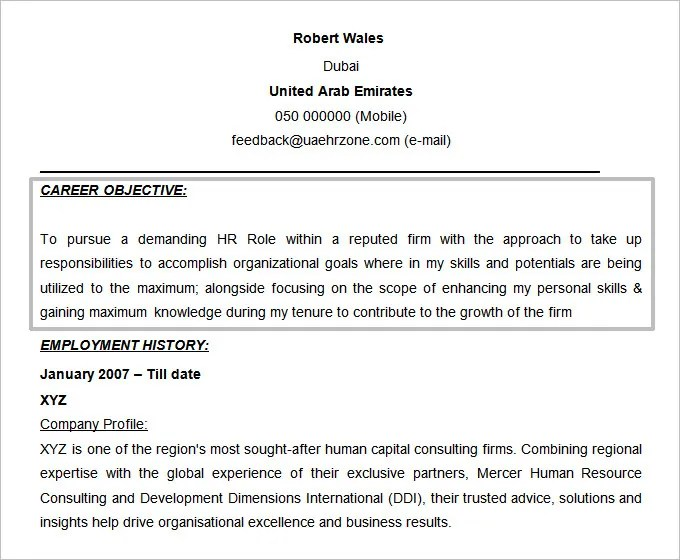 resume objectives u2013 46 free sample example format download hr resume objective - Sample Hr Resumes