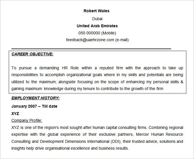 resume objective statements for hr