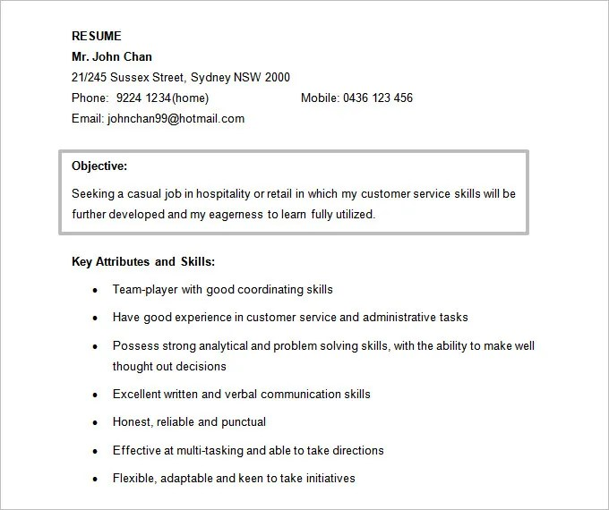 Resume Objectives - 61+ Free Sample, Example, Format Download Free - good objectives on a resume