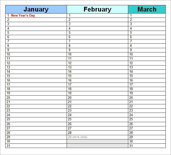 perpetual monthly calendar