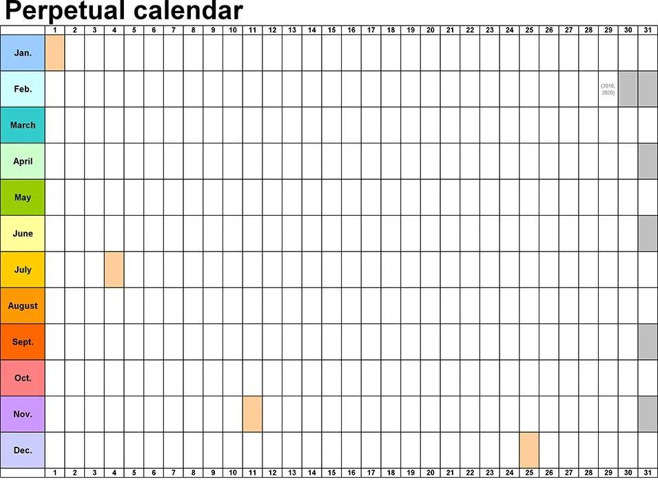 Perpetual Calendar - Calendar Template Free  Premium Templates - perpetual calendar templates