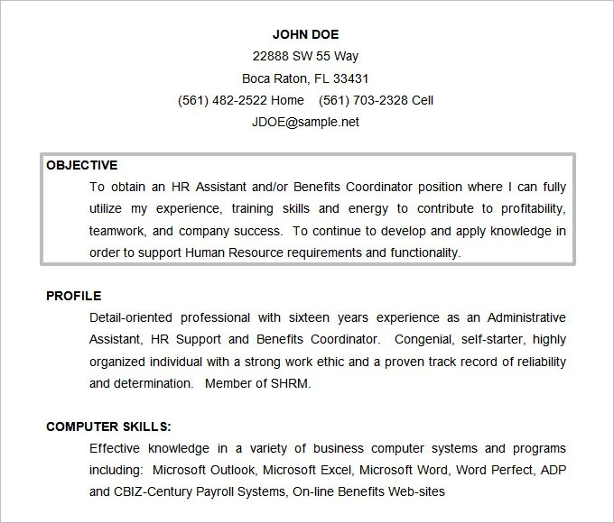 samples of resume objective - Funfpandroid - Objective In Resume Sample