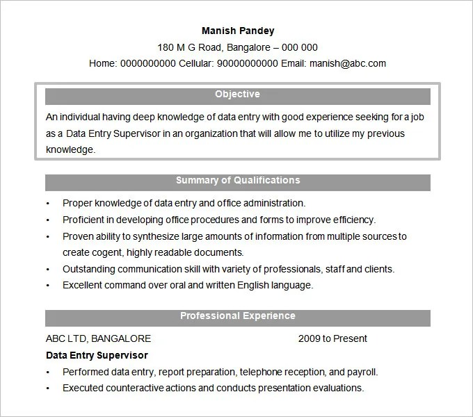Resume Objectives - 61+ Free Sample, Example, Format Download Free - Resume Objective It