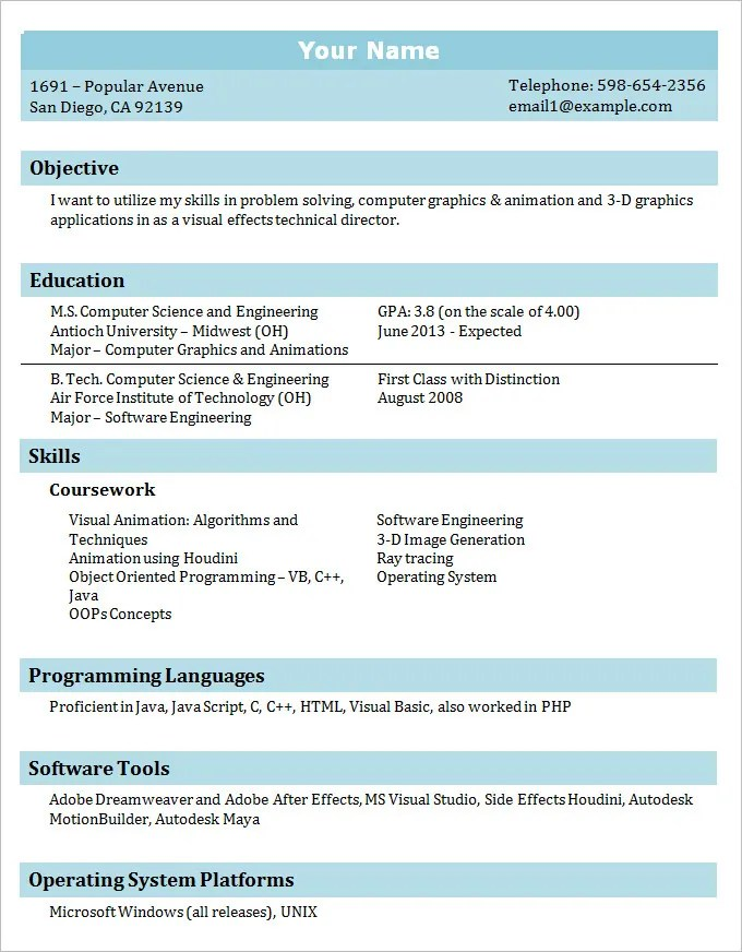 Resume Template Student Simple Resume Template For High School
