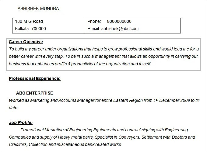 Resume Objectives - 61+ Free Sample, Example, Format Download Free - objective marketing resume