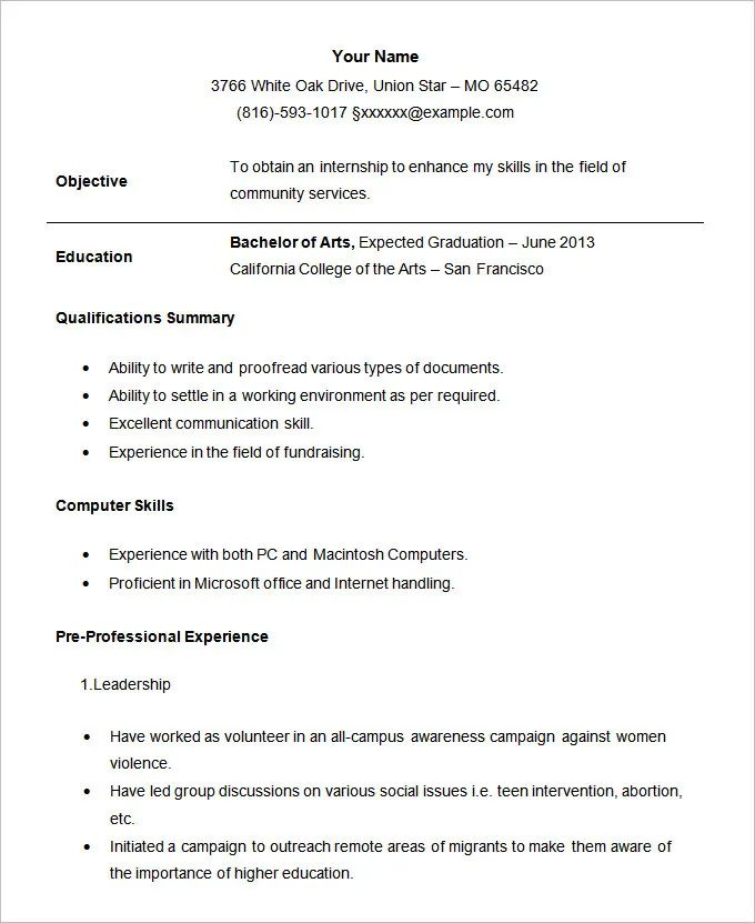 resume template applying internship
