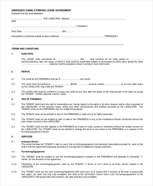 Rental Agreement Letter \u2013 7+ Word, PDF Documents Download Free - rental agreement letter template