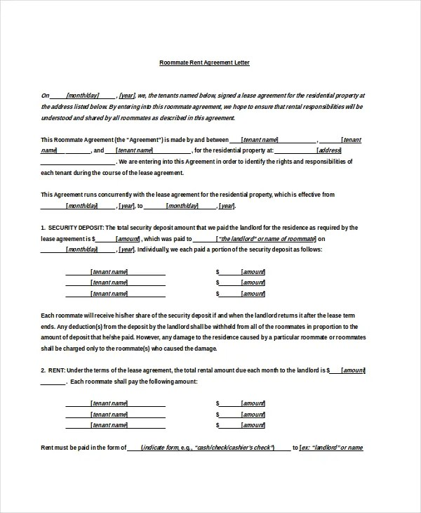 Rental Agreement Letter \u2013 7+ Word, PDF Documents Download Free