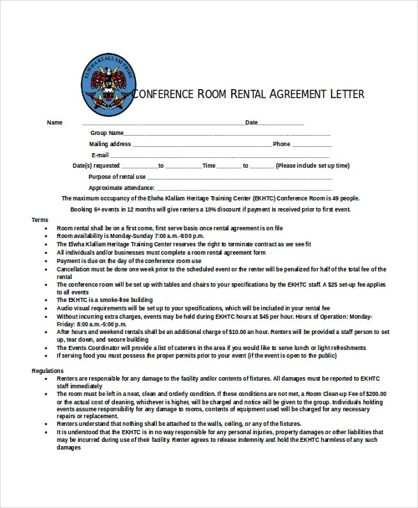 Rental Agreement Letter \u2013 7+ Word, PDF Documents Download Free - Sample Rental Agreements