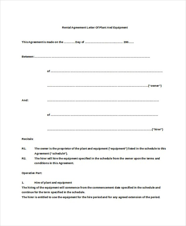 6+ Rental Agreement Letter - DOC, PDF Free  Premium Templates