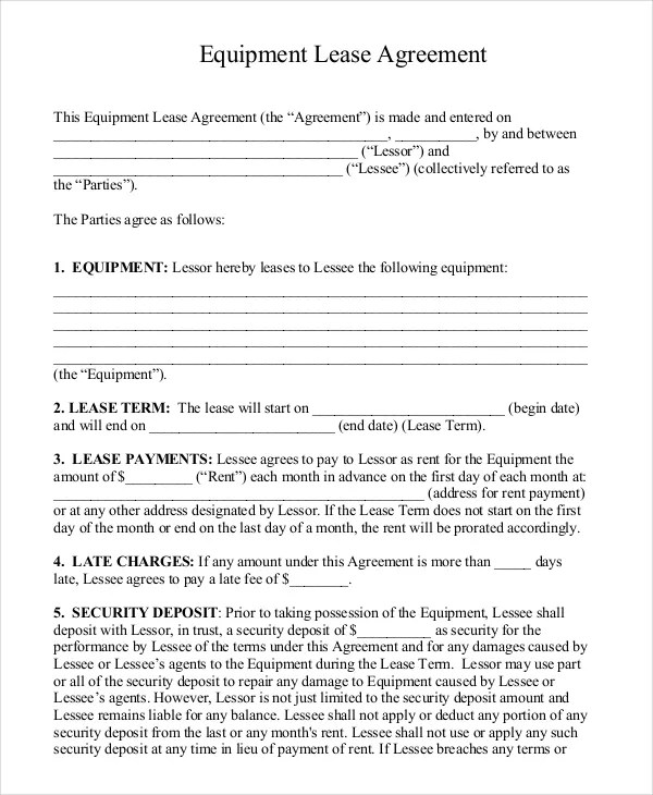 Rental Lease Agreement Template - 13+ Free Word, PDF Documents - equipment lease agreement template