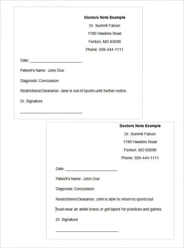28+ Doctors Note Templates - PDF, DOC Free  Premium Templates - doctor note example