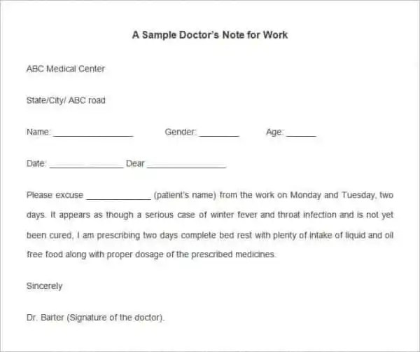 28+ Doctors Note Templates - PDF, DOC Free  Premium Templates - doctors note template