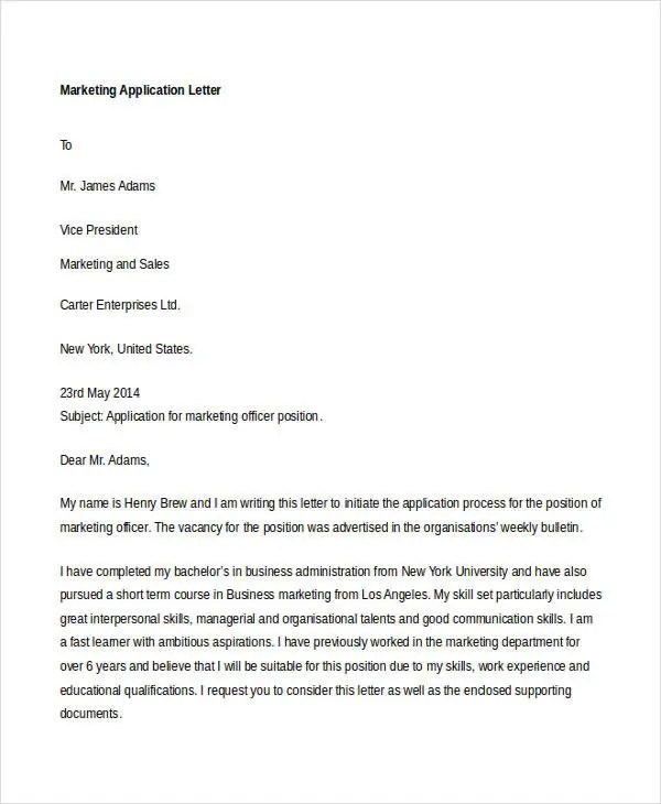 55+ Free Application Letter Templates Free \ Premium Templates - letter writing template