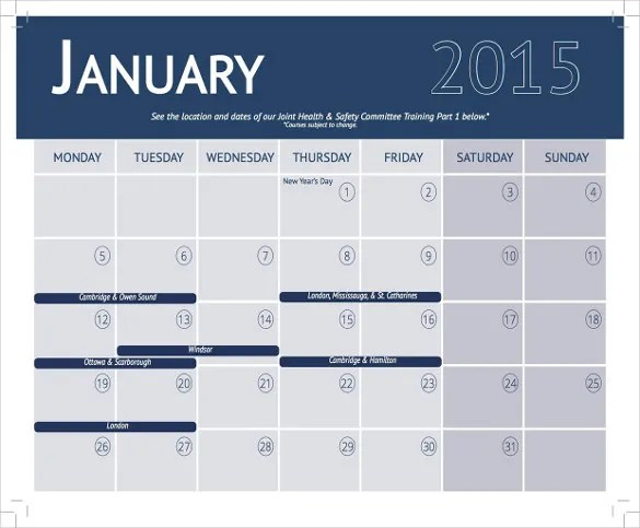training calendar template - Ozilalmanoof