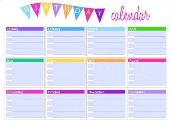 Birthday Calendar - 43+ Calendar Template Free  Premium Templates - birthday calendar template