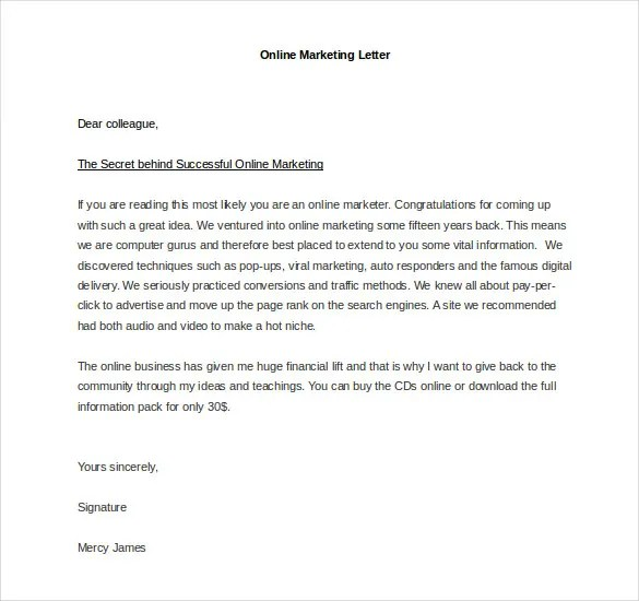 Marketing Letter Template - 38+ Free Word, Excel PDF Documents - marketing letter format