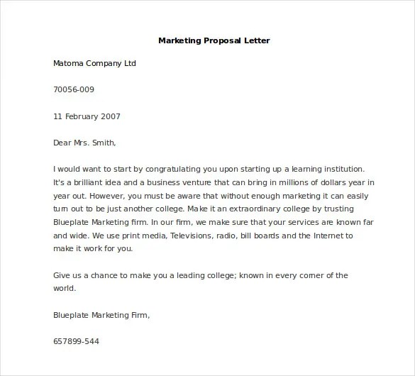 Marketing Letter Template - 38+ Free Word, Excel PDF Documents - product proposal letter