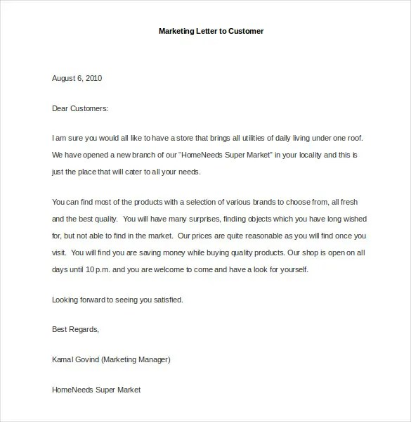 Marketing Letter Template - 38+ Free Word, Excel PDF Documents - letter to customer