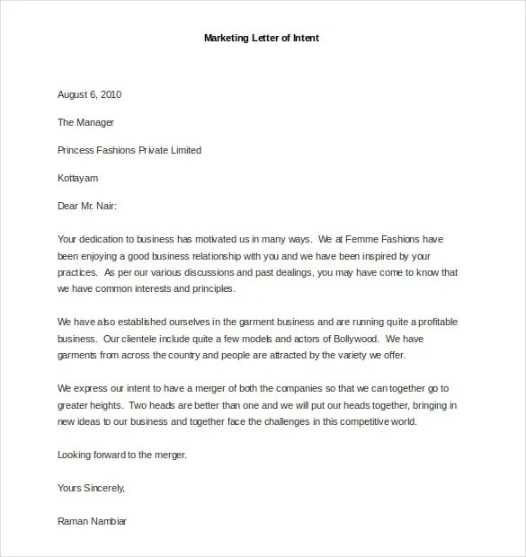 How To Write A Letter Of Intent With Sample Letters Marketing Letter Template 38 Free Word Excel Pdf