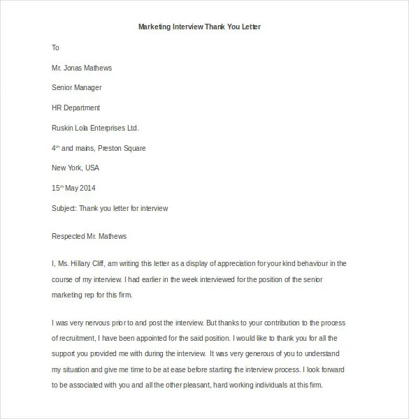 Marketing Letter Template - 38+ Free Word, Excel PDF Documents - writing post interview thank you letters
