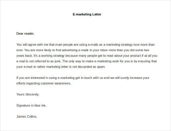 Advertising Proposal Letter Sample E-Marketing Letter Marketing - free mail sample