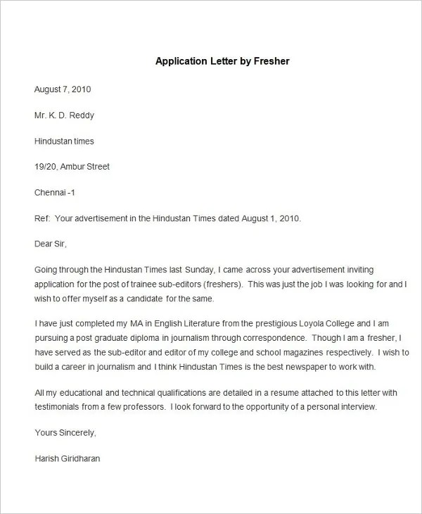94+ Best Free Application Letter Templates  Samples - PDF, DOC