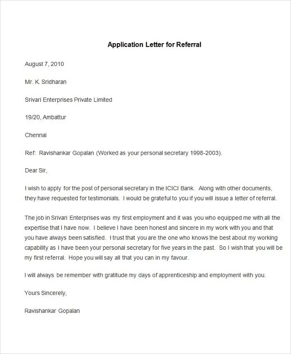 95+ Best Free Application Letter Templates  Samples - PDF, DOC