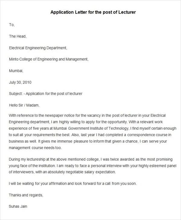 simple application for job - Basic Job Appication Letter - application letter example
