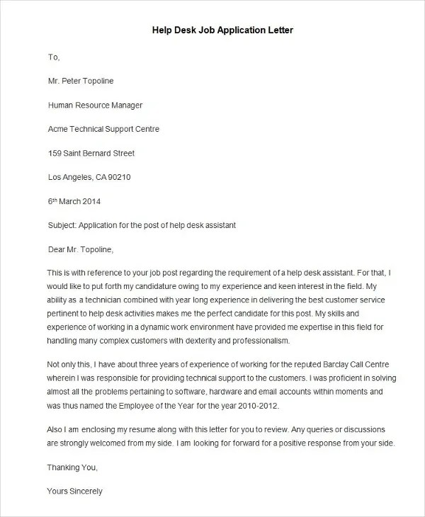 95+ Best Free Application Letter Templates  Samples - PDF, DOC - Sample Of Covering Letter For Job Applications